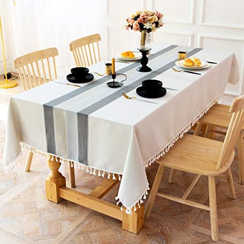 INKARO Fleckabweisende Tischdecke rechteckig Baumwolle Leinen bestickt Nappaleder Tischdecken für Küche Restaurant, (graue Streifen, 140 x 220 cm)