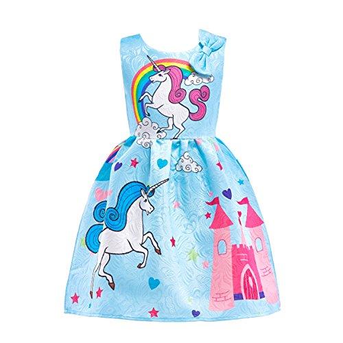 Lito Angels Dziecięcy kostium księżniczki jednorożec Rainbow wróżka sukienka na karnawał niebieska 4-5 lat