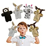 UrSIM Stuffed Animal Hand Puppets for Toddlers Set of 4, Interactive Plush Puppets for Kids Preschool – Children Toys & Birthday Gifts for Storytelling Role Play Puppets Theaters