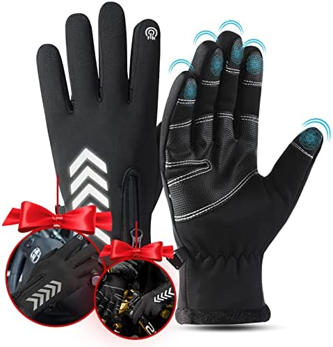 Mens Gloves Winter, HSLGOVE Winter Gloves for Men, Waterproof Touchscreen Gloves for Cycling Driving Working Hiking Running Gloves