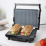 Quest 35609 Deluxe Health Grill and Panini Press | Non-Stick Marble Coating | Cool Touch Handle | Automatic Temperature Control