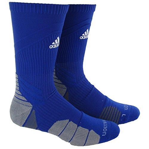 adidas Traxion Menace Football/Baseball Crew Socks, Bold Blue/White/Light Onix/Onix, Medium