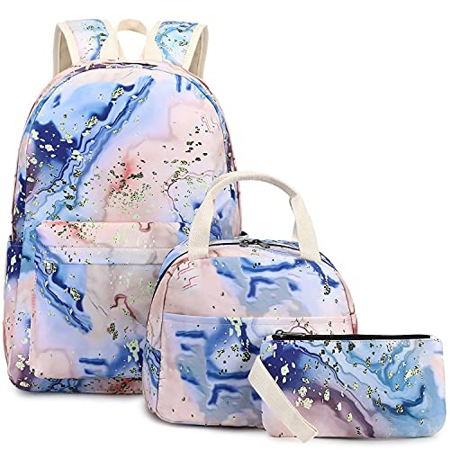 BLUBOON School Backpack Teens Girls Boys Kids School Bags Bookbag with Lunch bag pencil pouch (Orange - 9562)