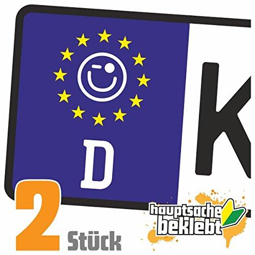 Zwinkersmiley Kennzeichen Aufkleber Sticker Nummernschild - IN 15 FARBEN