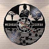 BFMBCHDJ Doctor en Medicina Hospital Signo Símbolo Reloj de Pared Varilla de Asclepio Personal de Caduceus Hospital Doctor Oficina Vinyl Record Clock