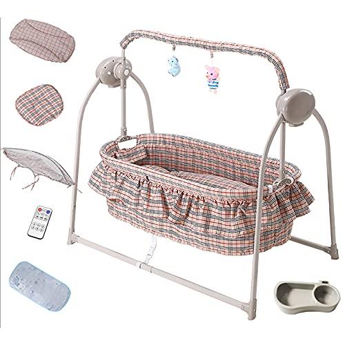 Swings Cuna de bebé, Cuna de Noche para bebé, Cuna portátil Plegable fácil con Canasta de Almacenamiento para recién Nacidos, Cuna de Noche, cómodo colchón/Bolsa de Viaje incluida