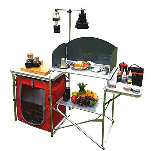 51Kg2DvCkSL - Klappbarer Camping-Tisch Tragbarer Picknicktisch Aluminiumlegierung 1680D Oxford-Stoff Mobiler Küchentisch Kochtisch Aufbewahrungstisch für Gartenpatio BBQ Party lili