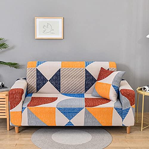 Funda De Sofá 4 Plazas Naranja Azul Fundas Sofa Elasticas Cubre Sofa Antideslizante Protector Funda para Sofá con Diseño Moderno Patrón Geométrico Universal Funda Cubre Sofas