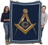 Masonic Gold Square and Compass - Cotton Woven Blanket Throw - Made in The USA (72x54)