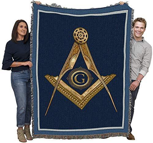 Cobertor de bússola e quadrado de ouro maçônico da Pure Country Weavers trançado de algodão - Feito nos EUA (72 x 54)