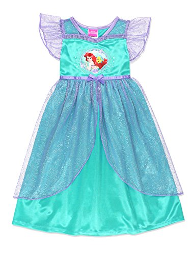 The Little Mermaid Ariel Girls Fantasy Gown Nightgown Pajamas (4T, Teal)
