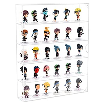 NIUBEE Acrylic Display Case,Clear Showcase Storage Organizer for Mini Funko Pop/Figure,Wall Mounted Display Cabinet Dustproof for Figure Any Toys Rock Stone