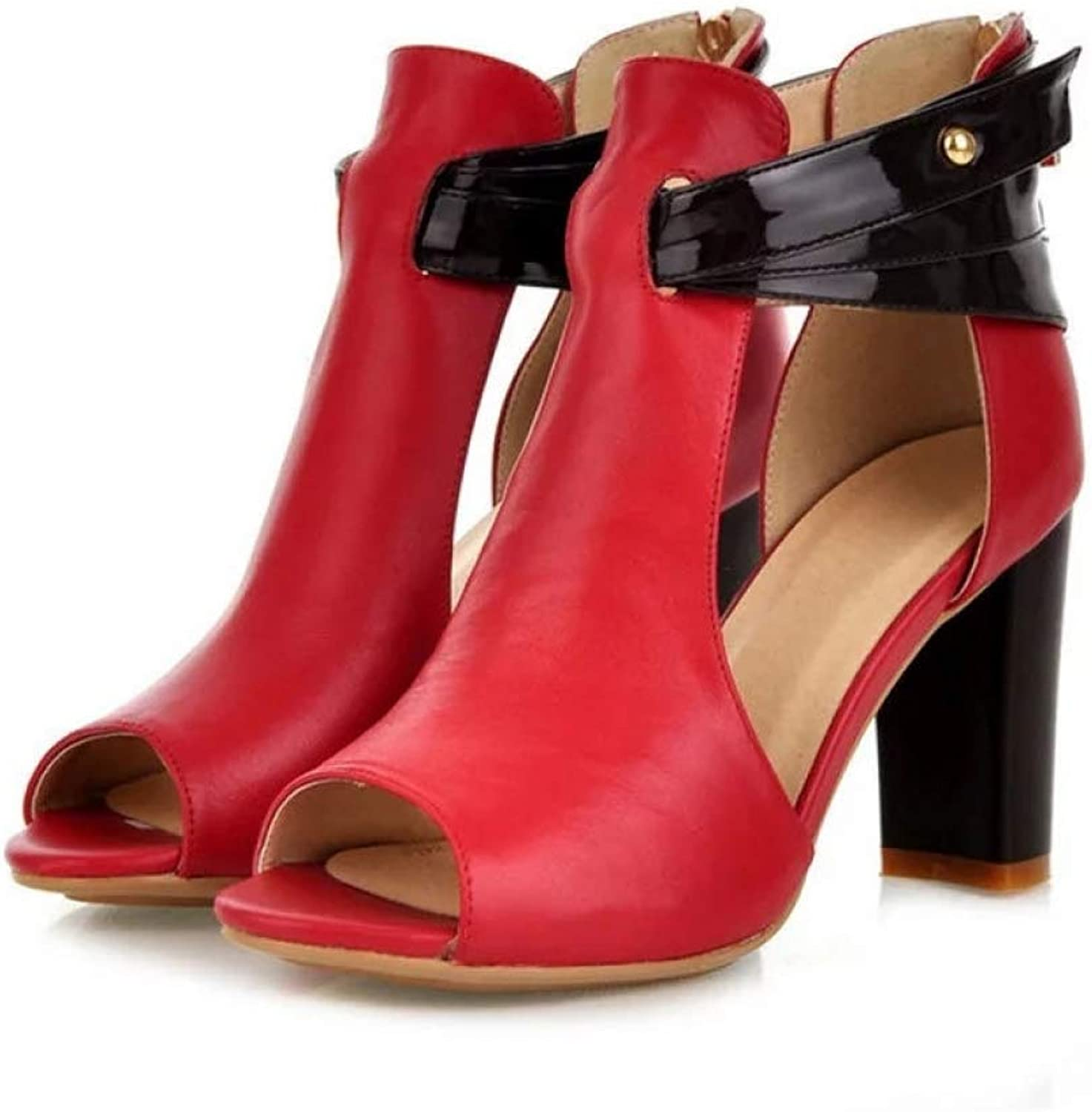 T-JULY Sexy High Heels Gladiator Sandals Women Spring Summer Pumps shoes Peep Toe Soft Leather Square Heel Sandalias