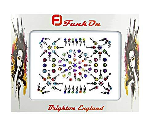 FunkOn® Flower Power Bindi Stickers Festival Face Gems Crystal Bindis Forehead Glitter Flower Face Jewels Indian Bridal Gem NB04