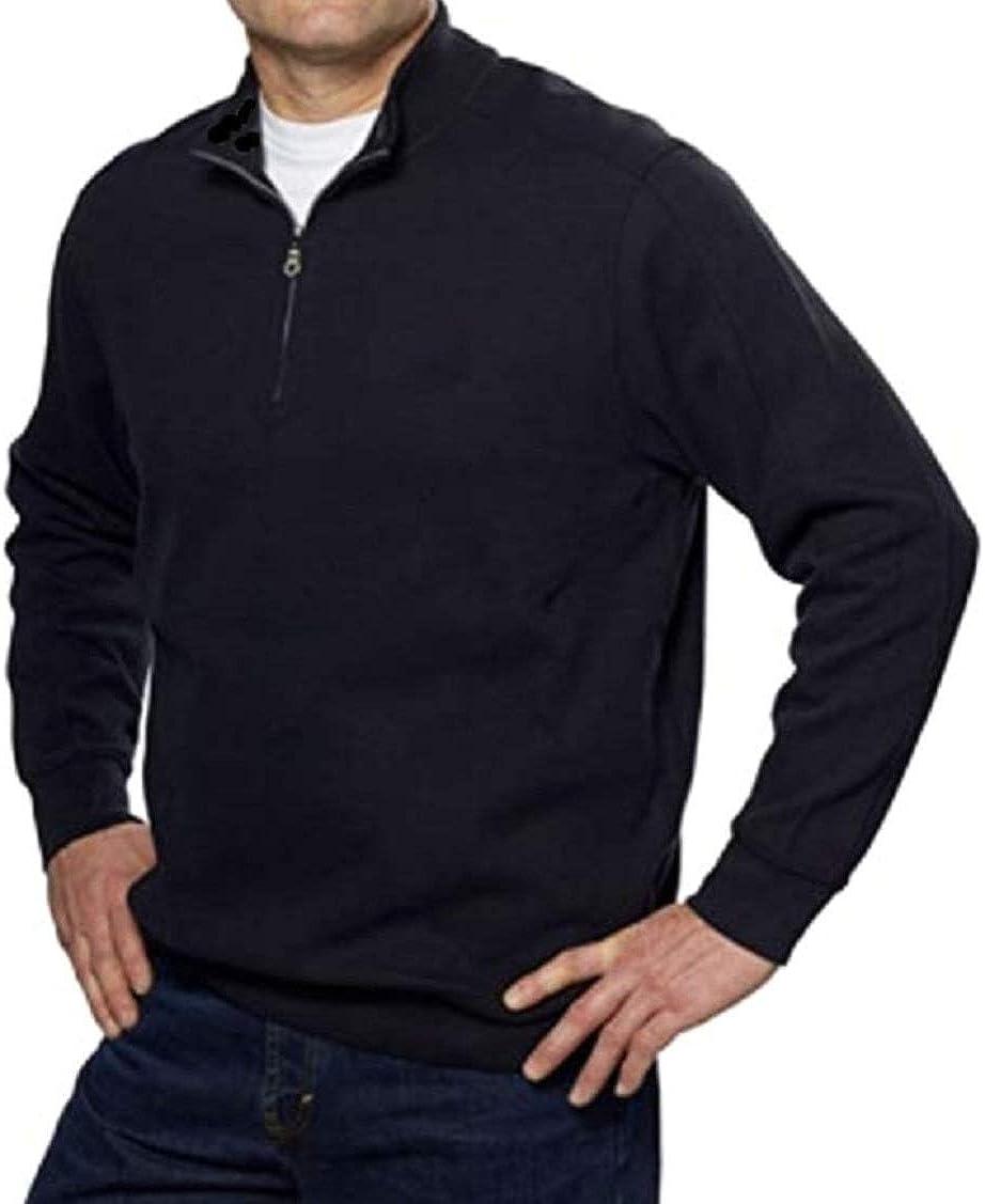 LIZ CLAIBORNE Apt 9 Classic Fit 1/4 Zip Sweater Premium Merino Wool Blend Black