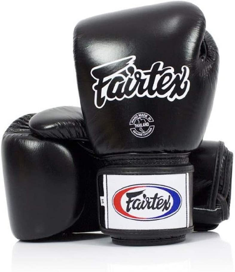 Size: 12 14 16 oz Fairtex Muay Thai Boxing Gloves BGV1-BR Breathable Gloves Sparring Gloves for Boxing MMA Color: Solid Black Training Kick Boxing