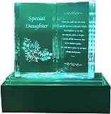 Online Steet - Placa conmemorativa de cristal con luces coloridas y soporte LED, ideal para el día de la madre, cumpleaños, Navidad y aniversario de boda, cristal, transparente, Special Daughter