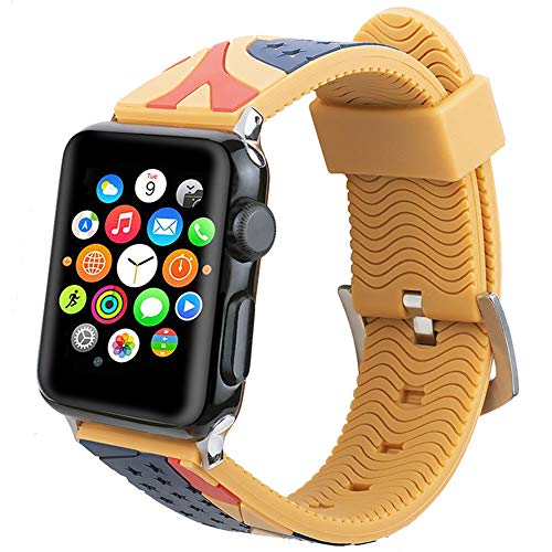 Sports Wristband, Compatible with Apple Watch Strap 38Mm 42Mm, Two-Tone Silicone Replacement Band Adjustable for Iwatch Series 1/2/3/4,Yellow,38mm