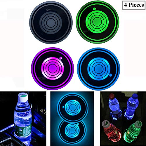 4 Pieces LED Car Cup Holder Lights, 7 Colors Changing USB Charging Mat Luminescent Cup Pad, LED Interior Atmosphere Lamp