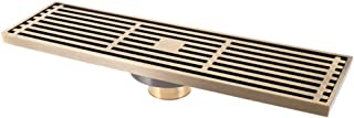 AJH Linear Shower Drain with Removable Cover Brass Brushed Floor Drain Anti Odor and Anti Clogging Multipurpose Hair Trap with Hair Strainer for Bathroom and Kitchen,