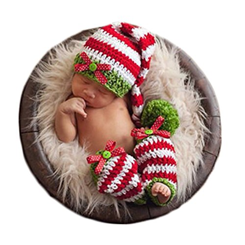 Baby Photography Props Photo Shoot Outfits Newborn Costume Infant Christmas Clothes Hat Leggings (Green)