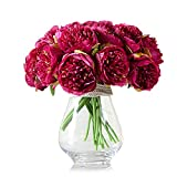 ZUMUii - Ramo con 5 flores artificiales, peonias, fucsia