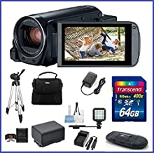 Canon VIXIA HF R800 Full HD Camcorder Ultimate Bundle, includes: 64GB SDXC Memory Card, LED Light, Tripod, Spare Battery and more...