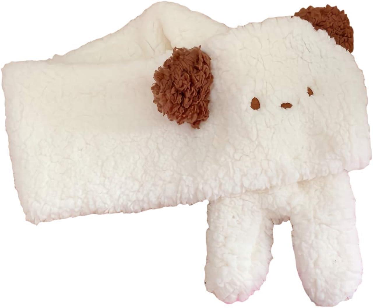 GK-O Japanese Cute Plush Anime Puppy Ear Scarf Soft Waxy Scarf Winter Warm Scarf