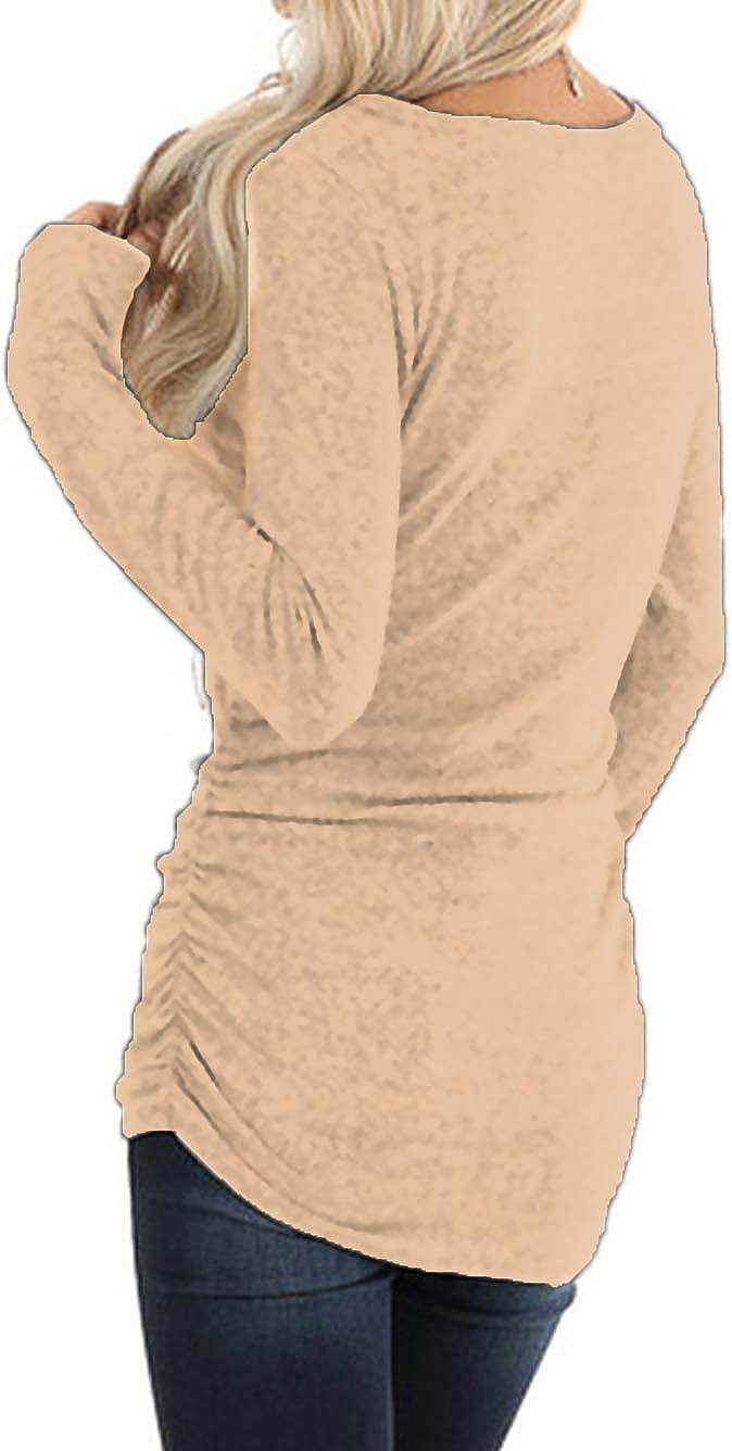 iChunhua Long Sleeve Shirt Women Long Tunic Sweater with Side Ruching S-XL
