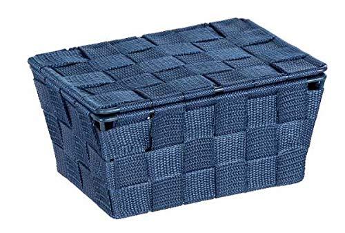 WENKO Cesta para el baño Adria, con tapa color azul oscuro - Cesta para el baño, Polipropileno, 19 x 10 x 14 cm, Azul oscuro