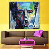 ganlanshu Pintura sin Marco Nuevo Moderno Abstracto Colorido Lienzo Pared Arte Cara Retrato Pintura al óleo sobre Lienzo para Sala de estarCGQ8761 20X25cm
