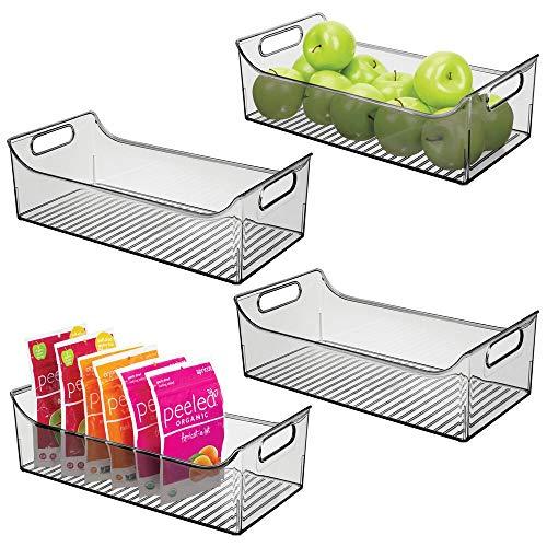 mDesign 4er-Set Aufbewahrungsbox mit Griffen – lange Kühlschrankbox zur Lebensmittelaufbewahrung – Ablage aus Kunststoff für den Küchen- oder Kühlschrank – rauchgrau