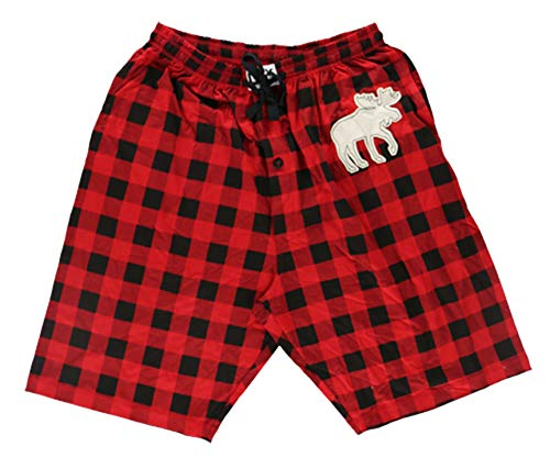 Lazy One Pajama Shorts for Men, Men's Separate Bottoms, Cotton Loungewear, Animal (Moose Plaid, Medium)