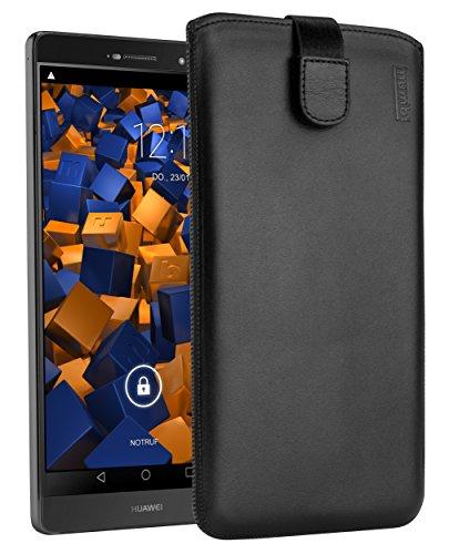 mumbi Echt Ledertasche kompatibel mit Huawei P8 Max Hülle Leder Tasche Hülle Wallet, schwarz