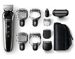 Philips Multigroom-Set Gesicht + Körper + Haar, 10 Aufsätze, QG3380/16, 2150 Watt, schwarz/metall