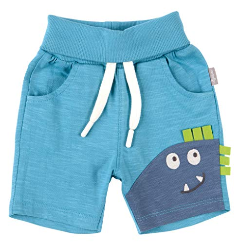 SIGIKID Baby - Jungen Shorts, kurze Sommerhose aus Bio-Baumwolle mit elastischem Umschlagbund und Eingriffstaschen, Blau, 74