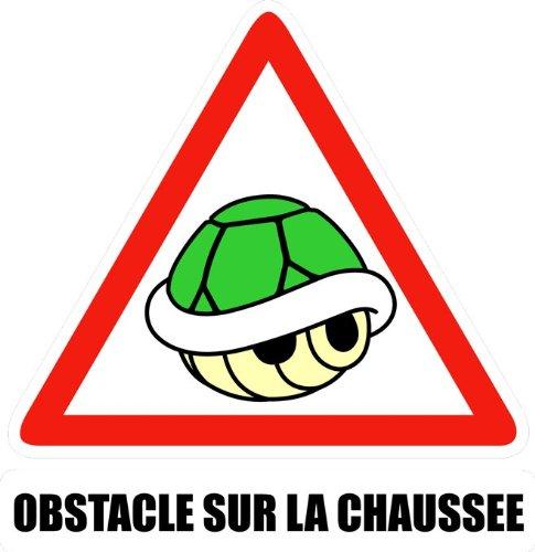 Okiwoki T-Shirt Noir Mario Kart parodique La Carapace Verte : Obstacle sur la chaussée ! (Parodie Mario Kart)