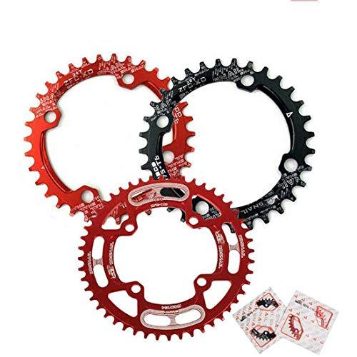 30-52T 104BCD Plato ancho estrecho de MTB, anillo de cadena de bicicleta de montaña ovalado redondo AL7075 CNC de una velocidad, plato ultraligero, apto para platos de bicicleta de cadena Shimano/S