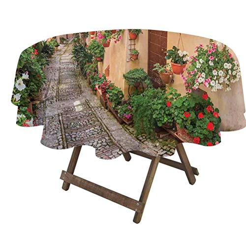 prunushome Tuscan Dining Table Cover Entrance to Mediterranean Tuscan House Rustic Wooden Door and Colorful Flowers Image for Dining Room Party Outdoor Picnic Multicolor   70' Round