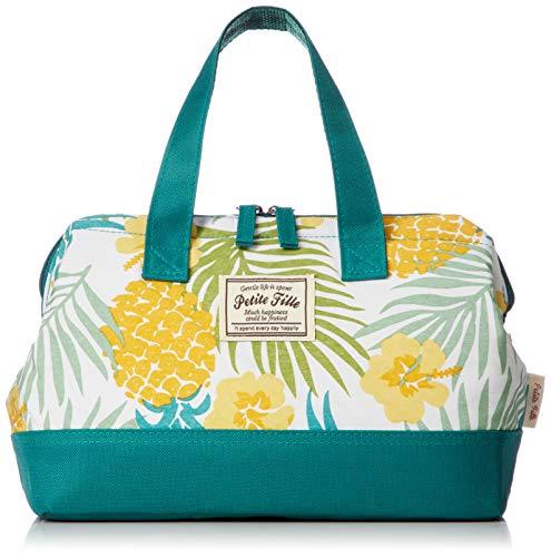[プチフィール] トートバッグ 保温 保冷 パイナップル柄 口金 4663 グリーン