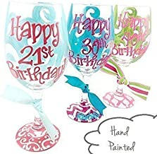 Free Personalization - Your Choice of Age, Colors and Design - 21st, 30th, 40th Happy Birthday Wine Glass
