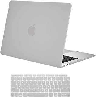 MOSISO MacBook Air 13 inch Case 2019 2018 Release A1932 with Retina Display, Plastic Hard Shell Case & Keyboard Cover Skin Only Compatible with MacBook Air 13 with Touch ID, Neutral Gray