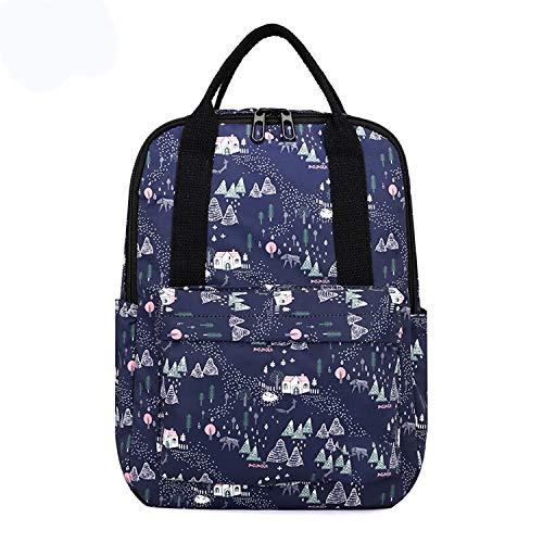 Nosterappou Imprägniern Sie vielseitige Schultertasche-weibliche zufällige Wilde Rucksackreise-Lichtausrüstung der Studenten-Campushandtasche (Muster : Distant Home)