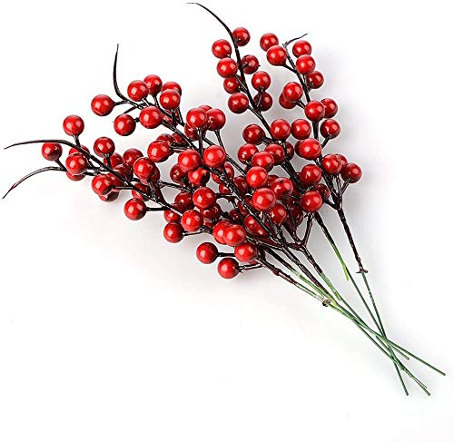 Lovehut 12pcs Red Berry Picks Artificial Berry Stems, 10.2 Inch Christmas Red Berries Artificial Fruit Berry Holly Flower Branch Home Holiday Wedding Party DIY Christmas Tree Crafts Decor