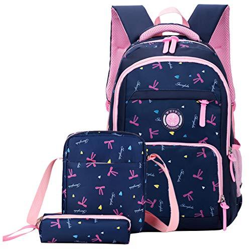 Kinderrucksack 3 Stück Mädchen Grundschultasche Nylon wasserdicht mit isolierten Lunchpaket Federmäppchen für Kinder Tagesrucksack, 6-13 Jahre Jugendliche Laptoptasche Schülerrucksack.