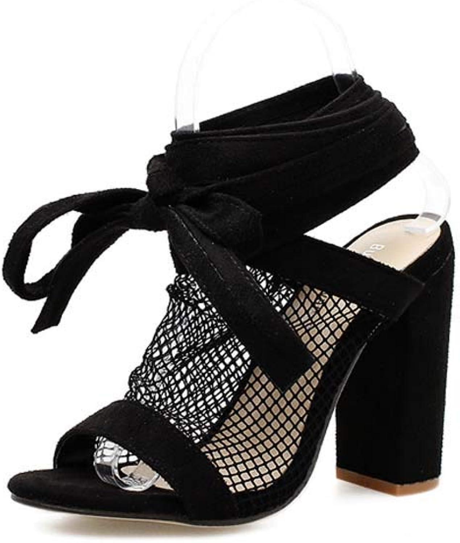 GHFJDO Neue Frauen peep Toe Schuhe, Sommer Damen Slingback Knchel Riemchensandalen, Lace Up Block Heels Party Kleid Stiletto Slip On Schuhe
