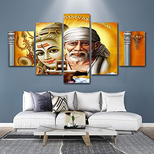 ZNNBH Impresiones sobre Lienzo - Arte De La Pared HD Impresiones Decoración del Hogar 5 Sai Baba Lienzo Figura Pintura Sala De Estar Modular Imagen Religiosa Cartel De La Obra De Arte - Fot 200X100CM
