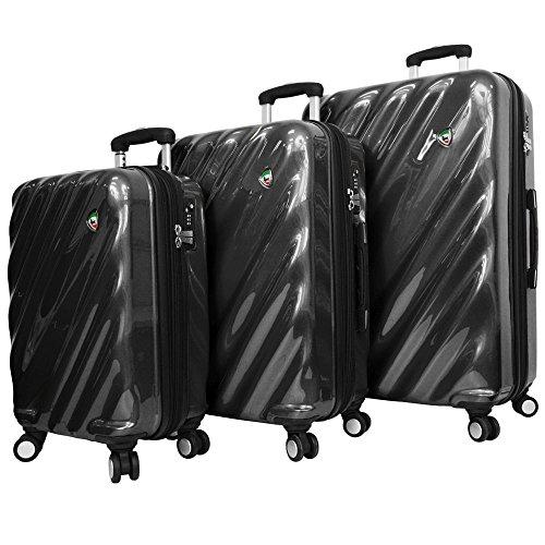 Mia Toro Italy Onda Fusion Hardside Spinner Luggage 3Pc Set Suitcase, 81 cm, Black