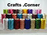 25 rollos de hilo de seda brillante para bordar, 25 bobinas de diferentes colores