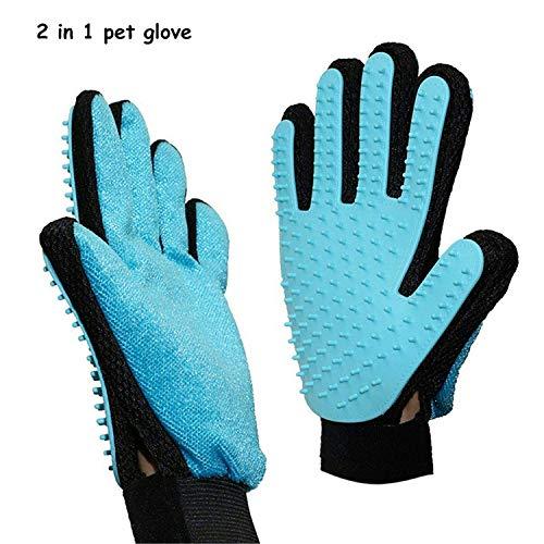 Haustier Grooming Handschuh,2 in 1 Pet Pflegen Handschuhe and Möbel Haustier Haarentferner Mitt Gentle Deshedding Bürste Massage Handschuh für Hund, Katze, Pferde (Ein Paar)